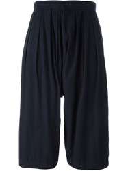 Comme Des Gara Ons Comme Des Gara Ons Pleated Cropped Trousers Blue