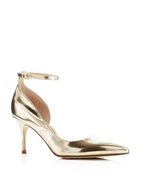 Ivanka Trump Brita Metallic Pointed Toe Ankle Strap Pumps Gold