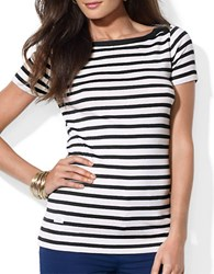 Lauren Ralph Lauren Striped Bateau Shirt White Black