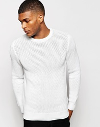 Reiss Waffle Knit Crew Neck Jumper White