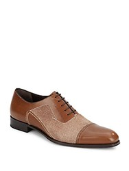 Mezlan Leather And Printed Suede Oxfords Tan