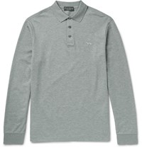 Ralph Lauren Purple Label Cotton Pique Polo Hirt Gray