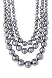 Nordstrom Rack Triple Strand Faux Pearl Necklace Metallic
