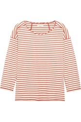 Madewell Gloria Striped Cotton Jersey Top Red