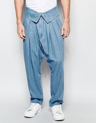 Asos Wide Leg Jeans With Fold Over Waistband Light Blue