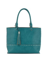 Neiman Marcus Piper Studded Trim Tote Bag Peacock