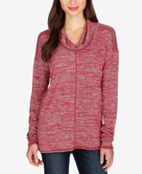 Lucky Brand Cowl Neck Tunic Sweater Rio Red