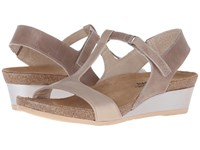 Naot Footwear Unicorn Khaki Beige Leather Satin Gold Leather Women's Sandals