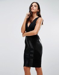 Forever Unique Yvette Bandage Dress With Pu Details Black