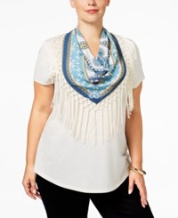 Styleandco. Style Co. Plus Size T Shirt With Printed Scarf Only At Macy's Warm Ivory