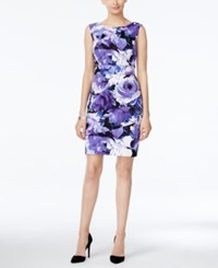 Connected Floral Print Tiered Sheath Dress Purple