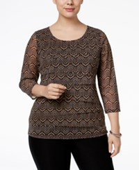 Alfani Plus Size Tiered Printed Mesh Top Only At Macy's Deco Geo Navy
