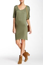 Loveappella Jersey Knit Tee Dress Green