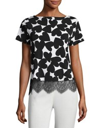 Vince Camuto Playful Heart Print Top New Ivory