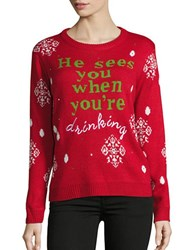 Context Text Graphic Christmas Sweater Red Combo