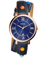 Fossil Women's Jacqueline Multicolor Stone Blue Leather Wrap Strap Watch 36Mm Es4102