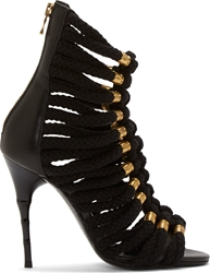 Balmain Black Leather And Braided Ikki Stilettos