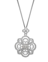 Lord And Taylor Diamond Sterling Silver Pendant Necklace Diamond Silver