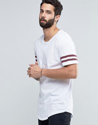 Only And Sons Longline T Shirt With Arm Stripes Curved Hem White Red Beige