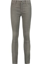 J Brand Stretch Leather Skinny Pants Gray