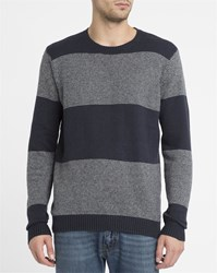 Rvca Grey And Black Channels Round Neck Sweatshirt
