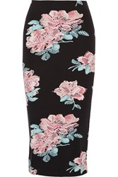 Elizabeth And James Darci Printed Tech Jersey Midi Skirt Black