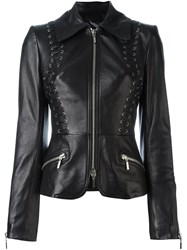 Plein Sud Jeans Fitted Leather Jacket Black