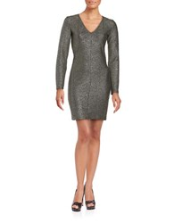Design Lab Lord And Taylor Long Sleeved V Neck Metallic Sheath Dress Gold