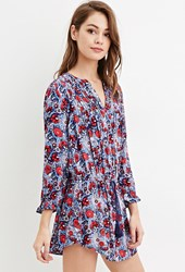Forever 21 Abstract Floral Tunic Blue Red