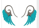 Noor Fares Fly Me To The Moon Wing Earrings In Turquoise With Black Gold And Grey Diamonds Blue