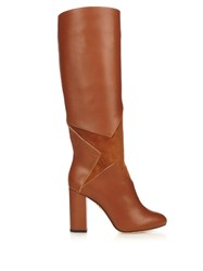 Charlotte Olympia Corine Star Applique Leather Boots Tan