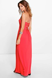 Boohoo Lace Up Bandeau Maxi Dress Red