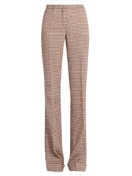 Miu Miu Checked Wool High Waisted Trousers Pink Multi