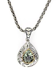 Effy Balissima Sterling Silver 18K Yellow Gold And Green Amethyst Pendant Necklace