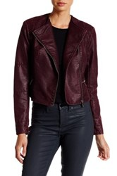 Bnci By Blanc Noir Asymmetrical Zip Crop Faux Leather Jacket Red