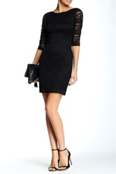 Laundry By Shelli Segal Elbow Sleeve V Back Lace Dress Petite Black