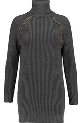 Tory Burch Cassius Embellished Wool Turtleneck Sweater Gray