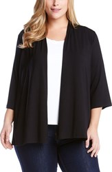 Karen Kane Plus Size Women's 'Molly' Open Jersey Cardigan Black