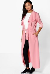 Boohoo Maxi Belted Waterfall Duster Dusky Pink