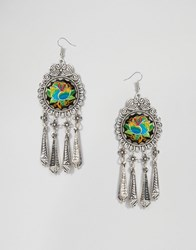 Reclaimed Vintage Round Embroidered Drop Earrings Silver