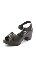 Rachel Comey Bandera Peep Toe Clog Sandals Black Perforated