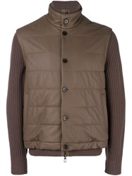 Loro Piana Ribbed Sleeve Jacket Brown