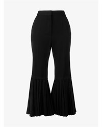 Stella Mccartney Strong Lines Wool Pleated Trousers Black White
