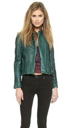 Free People Vintage Leather Moto Jacket Emerald Green
