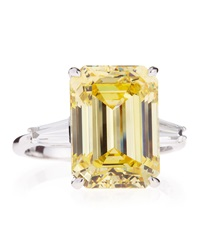 Fantasia Emerald Cut Cz Canary Ring 6