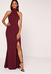 Missguided High Neck Halter Maxi Dress Purple Burgundy