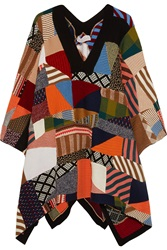 Chloe Patchwork Wool And Silk Blend Poncho
