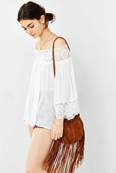 Ecote Pleated Fringe Crossbody Bag Brown
