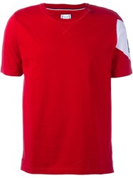 Moncler Gamme Bleu 'Heart' Sleeve Print T Shirt Red