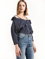 Pixie Market Navy Strappy Off The Shoulder Shirt